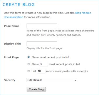 Create Blog form